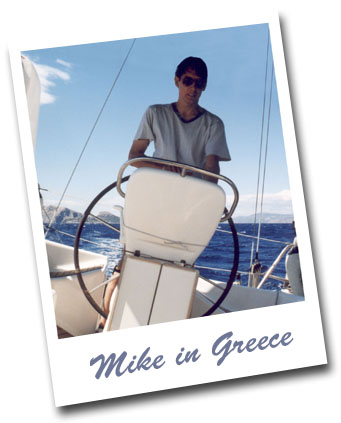Polaroid picture of Mike in Greece